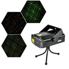 Proiector laser cu senzor de sunet, joc de lumini multicolor, pentru interior