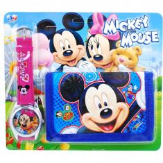 Set ceas pentru copii cu portofel Minnie si Mickey Mouse din desene animate - Ceas copii Disney