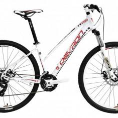 """Bicicleta Devron Riddle Lady LH0.7 S – 420/16.5"""" Crimson White - Mountain Bike Devron, Alb"""