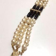 OFERTA -Bratara dama VINTAGE LUXURY  DAMA- placata cu aur 18k si perle