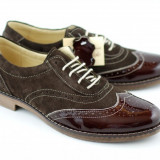 Pantofi maro barbati casual & eleganti din piele naturala (varf lacuit) - Pantofi barbat, Marime: 39, 40, 41, 42, 43, 44, 45, Culoare: Bleumarin, Gri, Negru