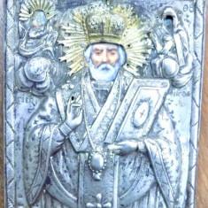 Sf. Nicolae, Icoana romaneasca cu ferecatura din argint marcat - Pictor roman