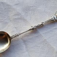 Lingurita argint cu heraldica BLAZON REGAL veche executata manual SPLENDIDA, Tacamuri