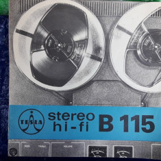 PLIANT MAGNETOFON TESLA B-115 STEREO FI-HI - Pliant Meniu Reclama tiparita