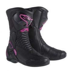 Cizme moto fete Alpinestars Stella S-MX6, negru-roz