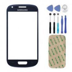 Geam Sticla glass Samsung s3 mini i8190 albastru - Geam carcasa