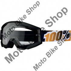 Ochelari 100.00% Strata, sticla trasnsparenta, negru, - Ochelari moto
