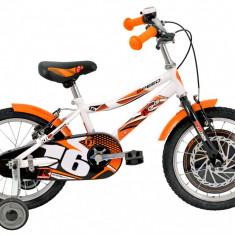 Bicicleta Copii DHS Speed 1603 (2016) Culoare Alb-Portocaliu, 9 inch