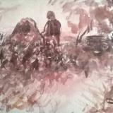 TARAN LA MARGINE DE PADURE, Peisaje, Acuarela, Impresionism
