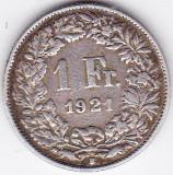Elvetia 1 FRANC 1921 argint 5 gr 835, Europa