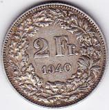 Elvetia 2 FRANCS franci 1940 argint 10 gr 835, Europa