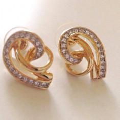 LICHIDARE-Cercei placati cu aur galben 18k si cristale SWAROVSKI