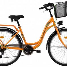 Bicicleta DHS Citadinne 2634 (2017) Portocaliu, 430mm - Bicicleta de oras