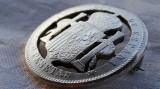 Brosa argint BLAZON REGAL SPANIA masiva Traforata din moneda de 5 pesetas 1889
