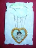 Ilustrata - Felicitare de 1 Aprilie :  Peste-Balon  cu copil ,in zbor- 1906