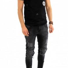 Tricou negru - tricou barbati - tricou fashion - 8075 P1-4, Marime: S, M, L, XL, Culoare: Din imagine, Maneca scurta