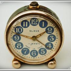 CEAS DE MASĂ DEȘTEPTĂTOR RUSESC - SLAVA URSS, 11 RUBINE - FUNCȚIONAL, VECHI! - Ceas de masa