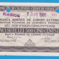 (2) CEC DE CALATORIE (CHEQUE DE VOYAGE) - CLUJ - KOSICE - 500 LEI, ANUL 1981