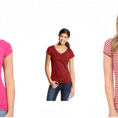Tricou Dama US POLO ASSN XS S L, Culoare: Multicolor, Rosu, Roz, Simplu, Maneca scurta, Casual