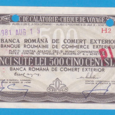 (4) CEC DE CALATORIE (CHEQUE DE VOYAGE) - UNGARIA - 500 LEI, ANUL 1981 - Cambie si Cec