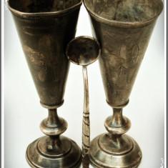 2 POCALE LITURGICE RUSEȘTI ȘI LINGURIȚĂ DIN ARGINT .875 FIN GRAVAT, VECHI 1871!