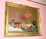Goblen vechi natura moarta fructe cu flori - perioada interbelica