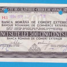 (1) CEC DE CALATORIE (CHEQUE DE VOYAGE) - UNGARIA - 500 LEI, ANUL 1984