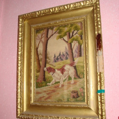 Goblen vechi infatisand un caine - perioada interbelica - Tapiterie Goblen