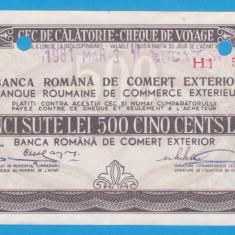 (8) CEC DE CALATORIE (CHEQUE DE VOYAGE) - UNGARIA - 500 LEI, ANUL 1981 - Cambie si Cec
