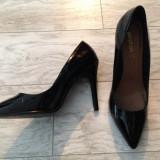 Pantofi Stiletto, lacuiti, marimea 40 - Pantof dama 1c, Culoare: Negru, Cu platforma