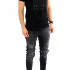 Tricou negru - tricou barbati - tricou fashion - 8076 P1-2, Marime: S, M, L, XL, Culoare: Din imagine, Maneca scurta