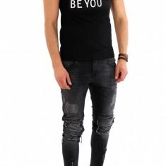 Tricou negru - tricou barbati - tricou fashion - 8074O2, Marime: XS, S, M, L, Culoare: Din imagine, Maneca scurta