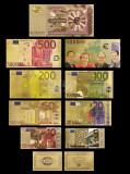 EUROPA - SET 9 BANCNOTE EURO COLOR POLYMER AURITCU AUR 24k