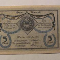 CY - 5 mark marci 1918 Ulm Germania NOTGELD / RARA / AUNC - bancnota europa