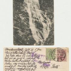 Ilustrata SKV 1918 cascada Sebes expediata 1920 timbre Romania stampila maghiara - Carte Postala Transilvania 1904-1918, Sibiu, Circulata, Printata