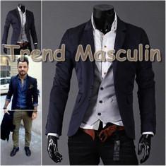 Sacou Blazer Barbati Casual Elegant Cambrat Slim Albastru Bleumarin 2 Nasturi - Sacou barbati, Marime: S, M, L, XS, Bumbac
