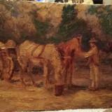 Tablou-țăran cu căruța-MP, Animale, Ulei, Abstract