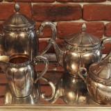 Tava si Set din alpaca argintata pentru servit ceai/cafea