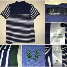 Tricou Fred Perry NOU (M) barbati casual polo pique bob de orez dungi albastre - Tricou barbati, Marime: M, Culoare: Din imagine