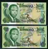 Botswana -  Set  2 buc x 10 Pula ND 2007 Serie Consecutiva  -  UNC P-24b