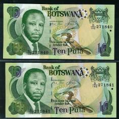 Botswana - Set 2buc 10 Pula ND 2007 Serie Consecutiva - UNC - bancnota africa