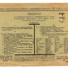 INVITATIE 10ANI A CERCETASIEI LIC CATOLIC 1937 CLUJ NAPOCA CERCETASI