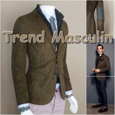 Sacou Blazer Barbati Casual Elegant Cambrat Slim Vesta Italian Maro Verde - Sacou barbati, Marime: S, M, 2 nasturi, Bumbac