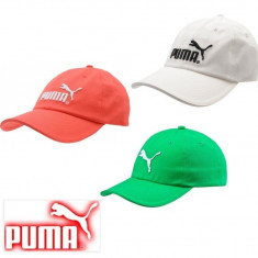Sapca Puma Essential logo originala - ajustabila - bumbac - unisex - Sapca Barbati Puma, Marime: Marime universala, Culoare: Alb, Verde
