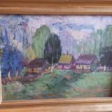 Trei tablouri-Casute semnate- TITU,DASCALU, Natura, Ulei, Realism