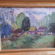 Trei tablouri-Casute semnate- TITU, DASCALU - Pictor roman, Natura, Ulei, Realism