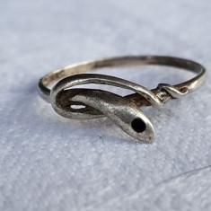 Inel argint SARPE cu email negru VECHI finut Superb vintage executat manual
