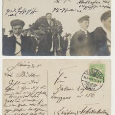 1913 ilustrata zbor Albert Ziegler Sighisoara spre Codlea cu autograf pilot sas - Carte Postala Transilvania 1904-1918, Circulata, Fotografie