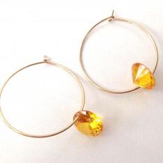 REDUCERE-Cercei rotunzi placati cu aur 18k si cristal SWAROVSKI