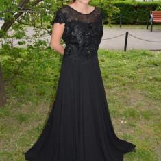 Rochie lunga de nunta cu dantela in partea de sus, neagra (Culoare: NEGRU, Marime: 56) - Rochie de seara, Maxi, Scurta